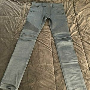 Balmain Stretch Biker Jeans Men 30 Blue Cotton/Den